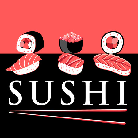 Vector bright poster with different sushi for advertising