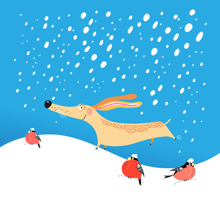 New Years greeting card with funny dog on a blue background with snowflakes