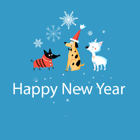New Years greeting card with funny dogs on a blue background with snowflakes