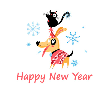 New Years bright postcard with a cat and a dog on a light background.