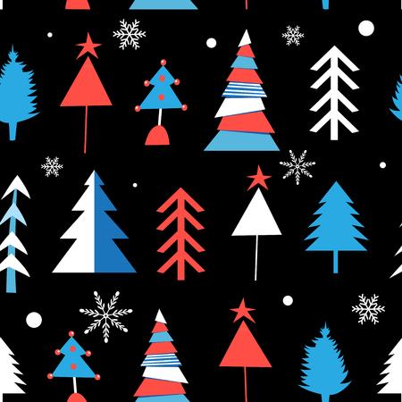 Winter pattern from different Christmas trees on a dark illustration. Stock Illustratie