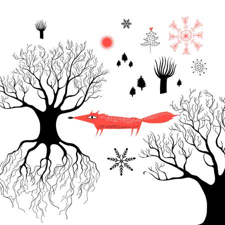 森の中で赤い狐冬グラフィックス