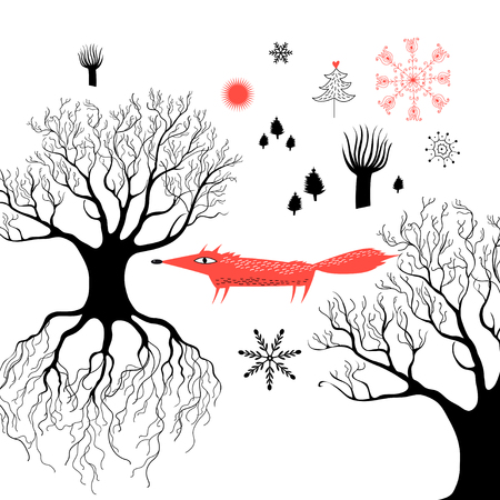 Winter graphics with a red fox in the woods