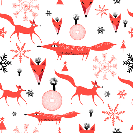 New Years pattern of red foxes on white background with snowflakes  Illustration