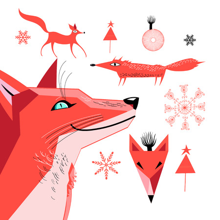 Set of graphics of a red fox vector illustration