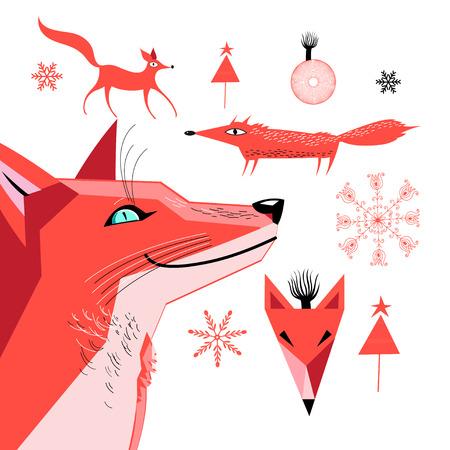 Set van afbeeldingen van een rode vos vector illustratie