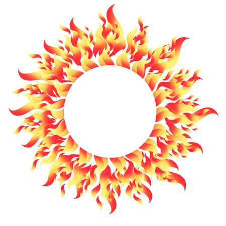 흰색 그림에 불 같은 라운드 밝은 패턴 요소. 일러스트
