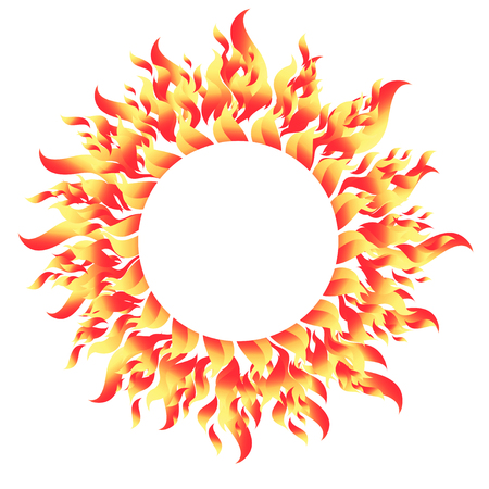 Fiery round bright pattern element on a white illustration.