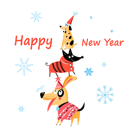 Cheerful New Years card with dogs on a white pattern with snowflakes. Illustration
