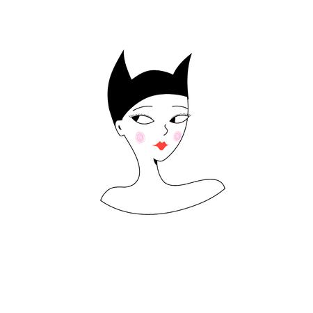 흰색 패턴에 여자의 그래픽 초상화.
