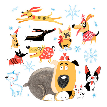 Vector New Year set of different funny dogs on white background