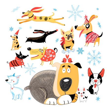 Vectornieuwjaarreeks verschillende grappige honden op witte achtergrond Stock Illustratie