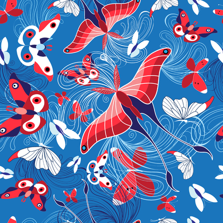 Seamless pattern of beautiful butterflies on a blue background Stock Vector - 92250421
