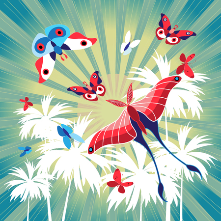 Bright summer card with palm trees and butterflies on a retro pattern.