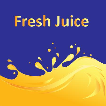 青に黄色のジュースと明るい広告 パターン。