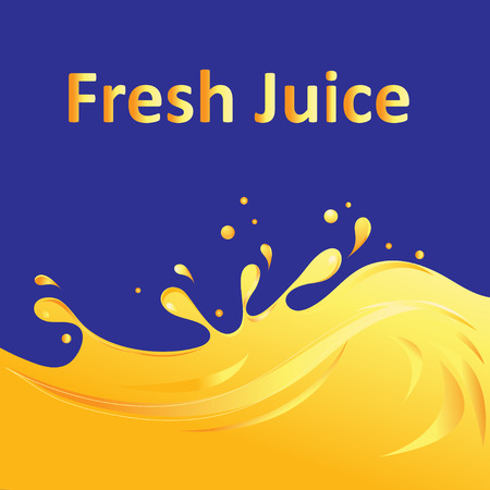 Bright advertising with yellow juice on blue pattern.