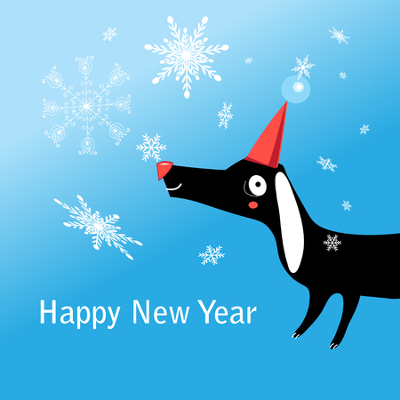 Christmas greeting card with funny dog on a blue background with snowflakes.