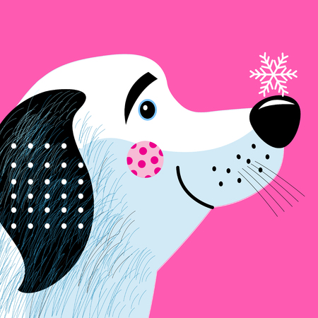 New Years greeting card with funny dog on a pink background with snowflakes Illustration