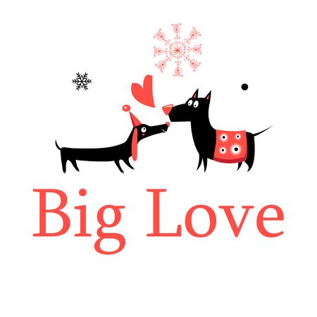 인사말 카드 사랑 개에 흰색 배경.