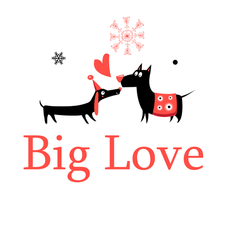 Greeting card in love dogs on a white background. Illustration