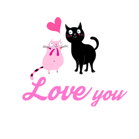 Graphics of enamored cats on a white background. Illustration