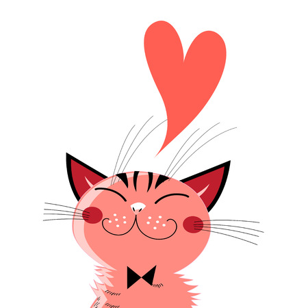 Graphics in love cat on white background.