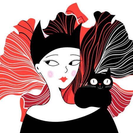 Grafisches Porträt eines Katzenmädchens auf dem dekorativen Hintergrund Standard-Bild - 92594111