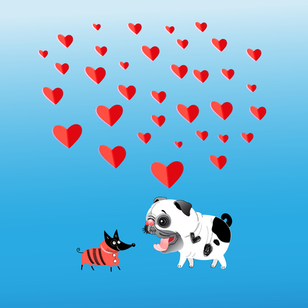 Greeting card with loving dogs on a blue background with hearts