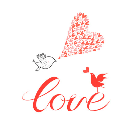 Greeting card with lovers with birds on a white background with hearts