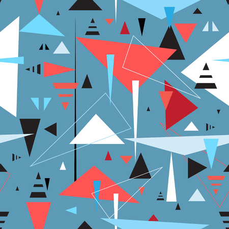 Abstract geometric seamless pattern of triangles on a blue background. Illustration
