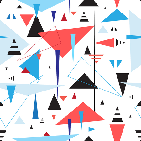 Abstract geometric seamless pattern of triangles on a light background.