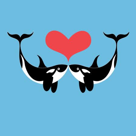 Graphics Enamoured walvissen op een blauwe achtergrond Stock Illustratie