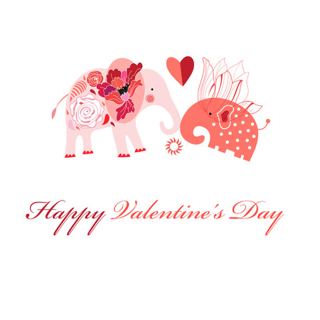 Greeting card in love with elephants on a white background