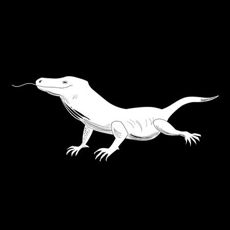 Graphics funny lizard on a black background. Çizim