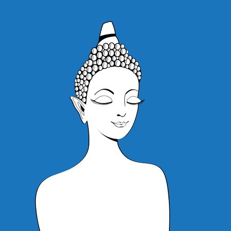 Graphics of a beautiful Buddha portrait on a blue background.