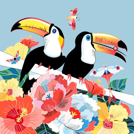 グラフィックは、花の背景に面白い鳥のトゥーカンを色。