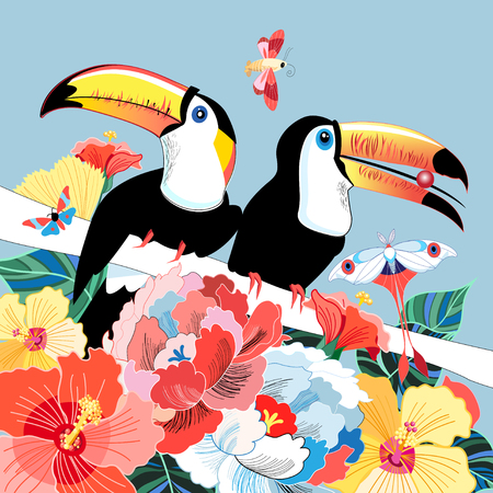 Graphics color funny birds toucans on a floral background. Illustration