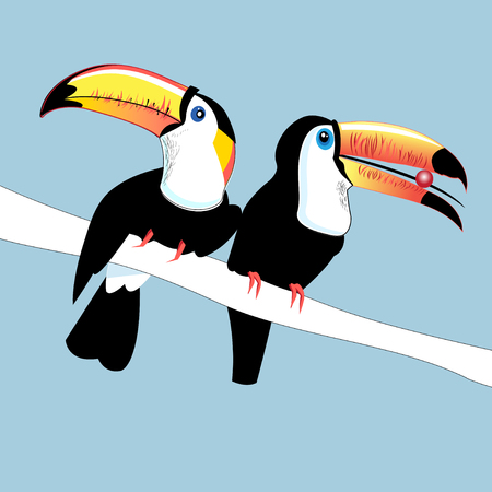 Graphics color funny birds Toucans on a branch on a blue background.