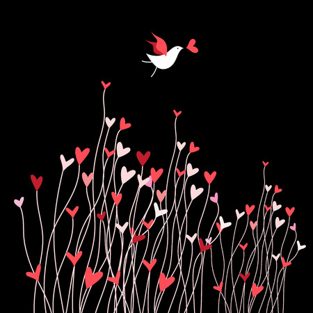 Loving bird on a dark background with plants and hearts