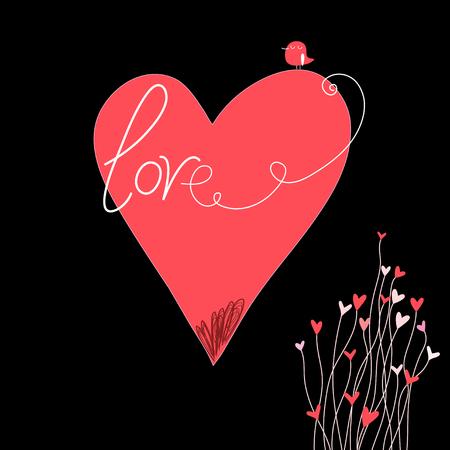 Wenskaart met een groot hart en vogel op een donkere achtergrond Stock Illustratie