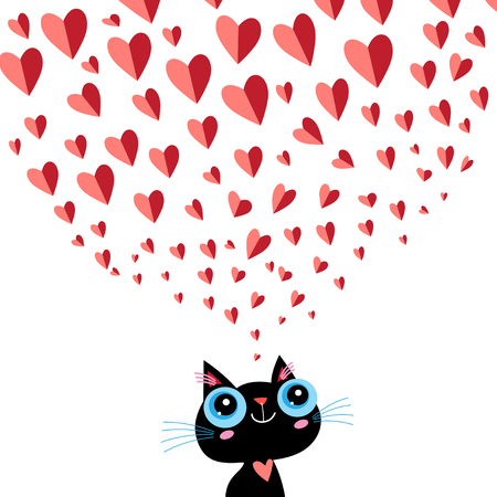 Graphics enamored little kitten on a white background with hearts