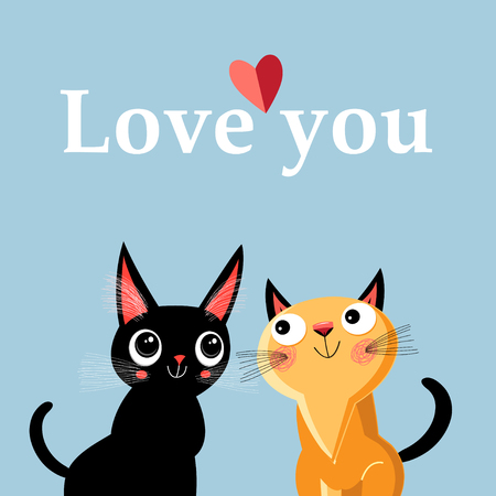 Greeting card with enamored kittens on a blue background