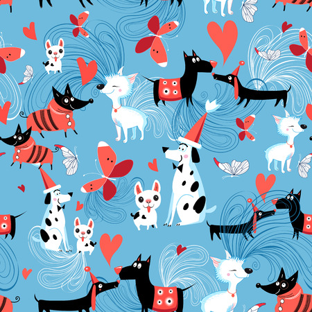 Seamless bright pattern of enamored dogs on a blue background with butterflies