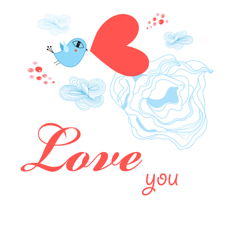 Greeting card to the day of all lovers with a bird on a white background