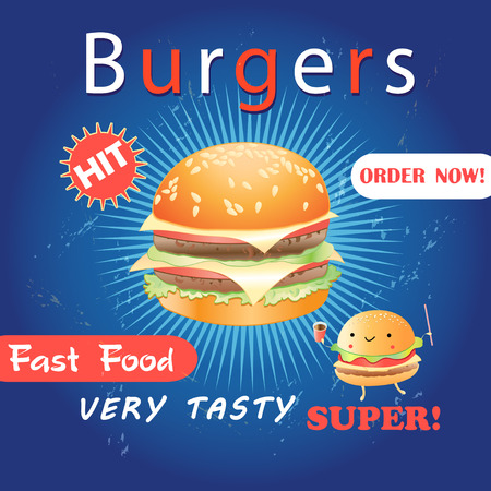 Grunge cover for fast food menu - hamburger on a vintage background Stok Fotoğraf - 93526032