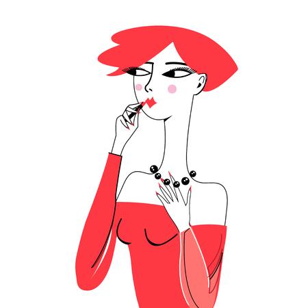 Beautiful girl portrait paints lips on white background Illustration