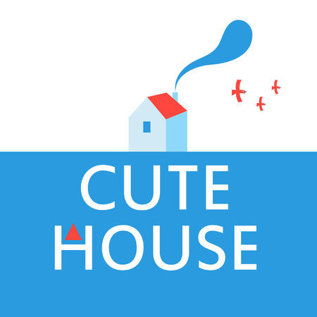 Illustration of a cute house advertisement poster on a white background