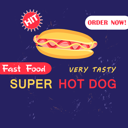 Advertising Illustration with hot dog on a dark blue background