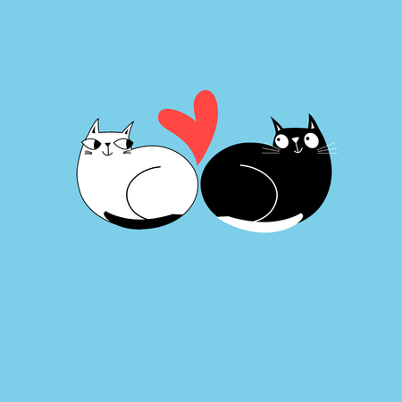 Illustration of enamored cats with a heart on a blue background