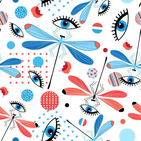 Bright seamless dragonfly pattern and eyes on a light background. Illustration